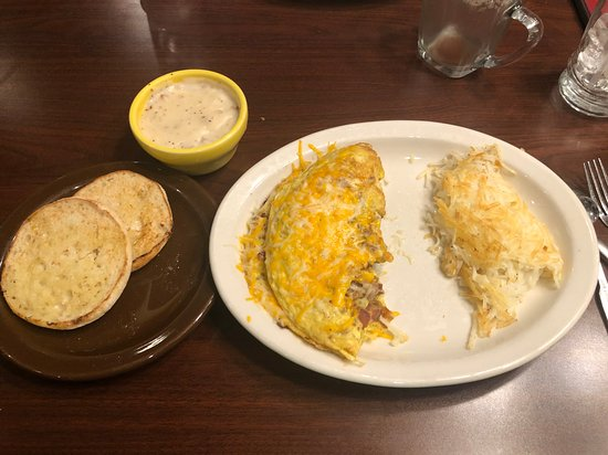 Denver omelette with a side of country gravy, and English muffins