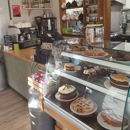 The counter at The Tea Barn - it's always fully stocked with cakes and other sweet treats!