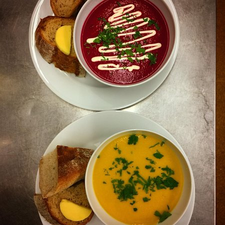 Two of our favourite soups - Beetroot & Ginger and Roasted Butternut Squash!