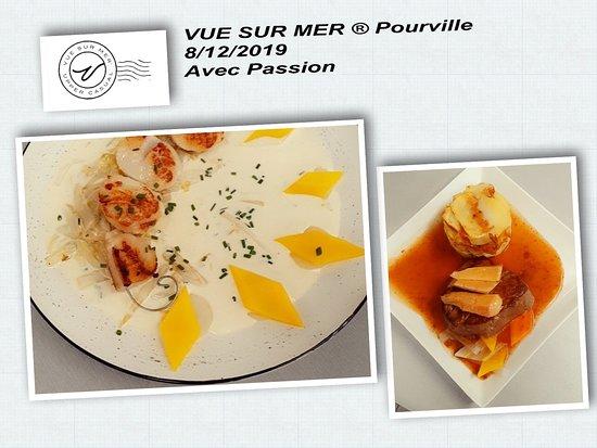 Pourville-sur-Mer, Fransa: Brochette de Saint Jacques effilochée d'endives Filet de boeuf façon Rossini pommes de terre Anna