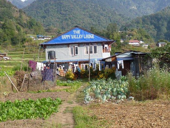 le lodge à Swanta au milieu des cultures