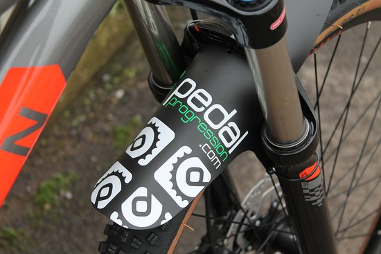 Each of our bikes comes fitted with a Pedal Progression branded front mud guard to help protect your face from flying mud!