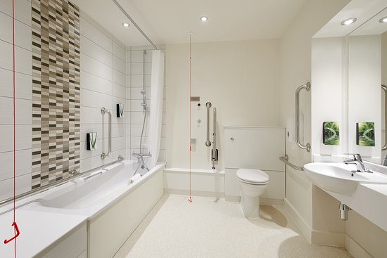 Premier Inn accessible bathroom with lowered bath