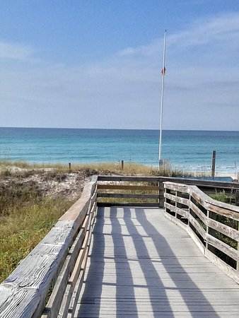 The boardwalk to walk down to the beach.