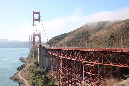 Wide-angle shot of the south end of the Golden Gate Bridge