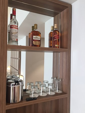 Part of the mini bar. 1 litre bottles of spirits. We managed to change our whiskey to a gin instead.