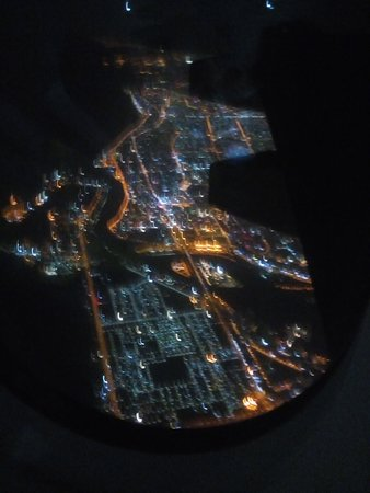 Emirates: Part of Dubai at mid night after take off for Kolkata