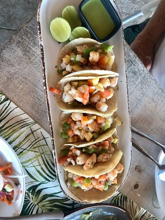 Shrimp tacos al pastor.  The BEST