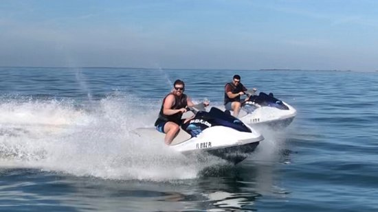 Jet ski rental freestyle fun.  Popular 90 minute and 2 hour dolphin Island excursions also available.