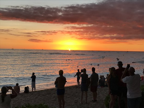 The Perfect Sunset At Waikiki Beach From The Beachhouse At