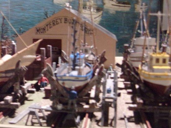 "diorama of a ""Cannery Row"" shipyard"