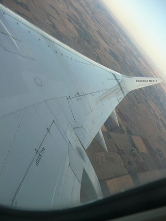 Air Transat: Wing shot showing the airplane operator Canadian North