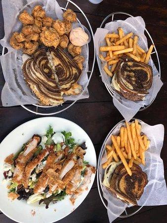 Cobb Salad w/Fried Chicken, Patty Melt, Fish Reuben