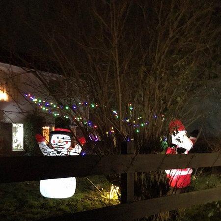Mark, UK: Christmas lights in the village