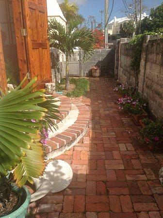 Bermuda cedar entrance front door and garden path
