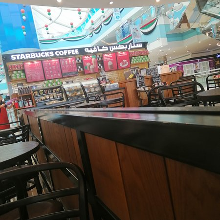 Starbucks in mushrif mall Abu Dhabi is just located in the first floor just by the entrance. Grabbing a quality coffee is quick and easy coz service is good.