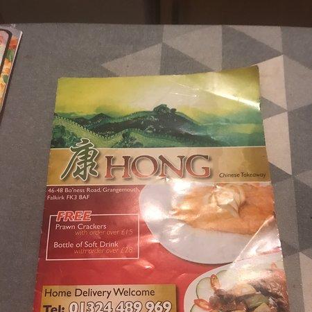 Grangemouth, UK: Hong Chinese takeaway FK3 9AF