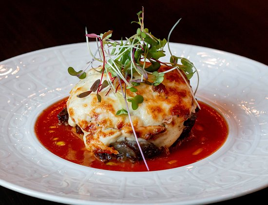 Lunch Menu Main Course - Modern Greek Moussaka - Smoked eggplant, beef ragout, and Mornay sauce