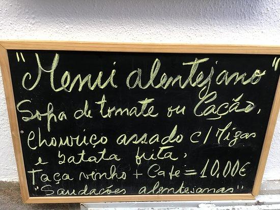 Menú típico de la zona  Portalegre