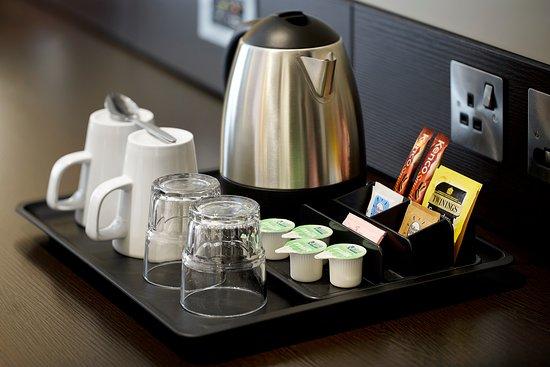 Premier Inn bedroom with tea/coffee-making facilities