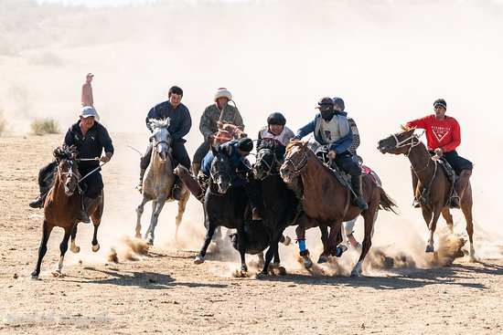 Buzkashi where horse-mounted players challenge amongst themselves and attempt to place a goat carcass in a goal