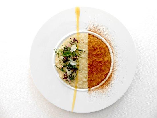 Carnaroli Riserva San Massimo, cipolle rosse di Breme, crema di limoni amalfitani, frisella partenopea, agretti