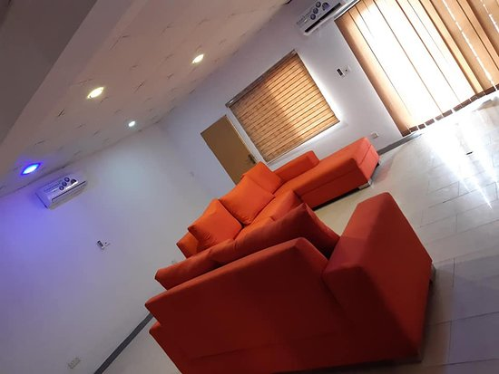 Ikeja, Nigeria: This is one of the beautifully furnished sitting rooms of the 3 bedroom flats. L-sectional shaped super soft sofas.