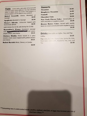 Carlisle, IA: Lunch menu back