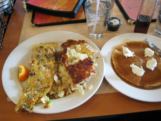 Western Omelet with American Potatoes and one pancake.