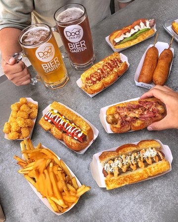 Dog Haus creates hand-crafted hormone- and antibiotic-free hot dogs, sausages, burgers, plant-based proteins and one Bad Mutha Clucka, all served on King's Hawaiian rolls. Crush one, then wash it down with one of our local craft beers, signature cocktails or premium shakes.
