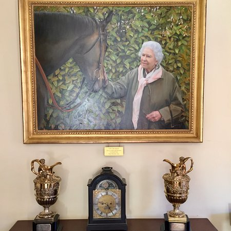 The Jockey Club Rooms: H.M. The Queen Elizabeth II with Gold Cup winner Estimate by Paul Benney