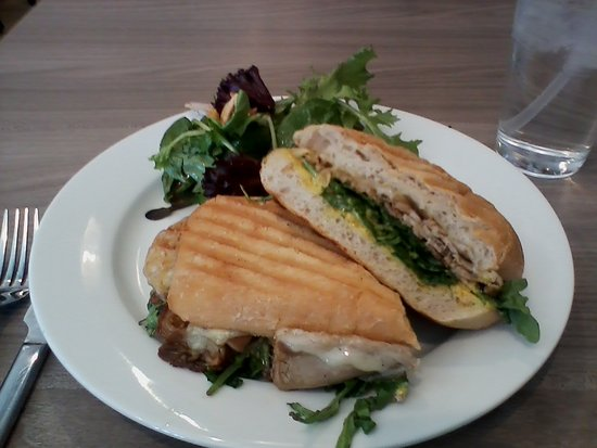 Lunch, Lamb panini   with fig sauce and side salad