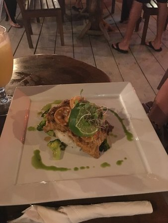 Roasted Garlic/Chipotle Grouper, topped with Shrimp, at The Dive Bar