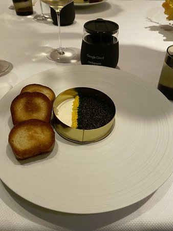 Golden Osetra Caviar Panna Cotta, paired with Cristal 2004