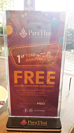 Ad by Para Thai outside their rest