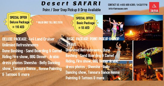 """Dubai, Uni Emirat Arab: """" Promo Offer Evening Desert Safari With BBQ Dinner"""" """"Basic Package Only @55 AED & Deluxe Package @110 AED"""" ✅No Hidden Charges ✅ 24/7 Reservations ✅Call & Whatsapp Now: +971556996389 / 043277710 Pickup Time: 2:30PM Drop Back Time: 9:00PM Pick and Drop also included in Deal  List of Activities: 🚙 Dune Bashing in 4x4 Land Cruisers. Live Entertainment Shows including 💃 Belly Dance 🔥 Fire Show 🕺🏽 Tanoura Show 🐪 Short Camel Ride 🏄 Sand Boarding ☕ Unlimited refreshments Water, Soft drinks, Tea"""