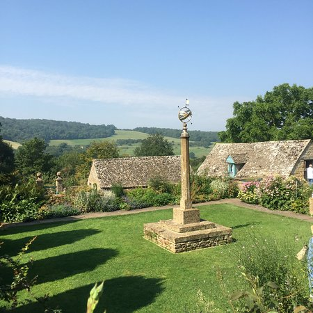 Snowshill Manor: Armillary Court with it's armillary sphere upon a stone pillar