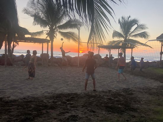 Jiquilillo, Nicaragua: Beach volleyball at sunset with a few locals