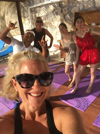 Yoga and Pilates on beach with George