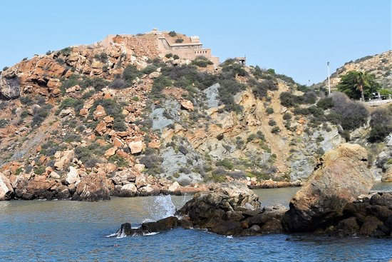 One of the forts that over looks the beach at Cala Cortina.  The carpark is just below this one