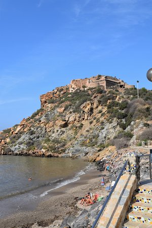 The old fort overlooking the beach at Cala Cortina