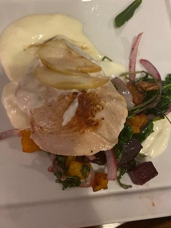 chicken saltimbocca with butternut squash, beets and kale
