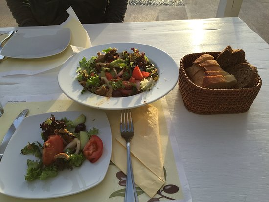 Salad and bread prepared at the hotel