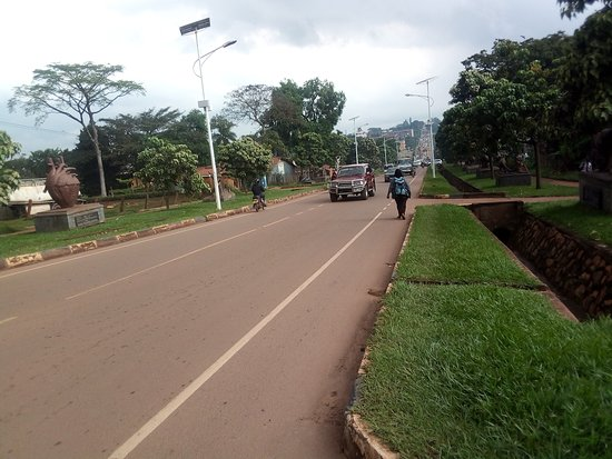 Kampala, Oeganda: Ever green fresh breathing air along the street from conserved plantations