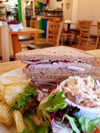 Festive lunch special - turkey, cranberry and stuffing sandwich