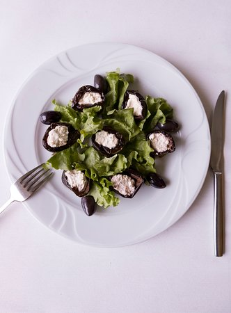 Shtorats - eggplant rolls with milk stuffing