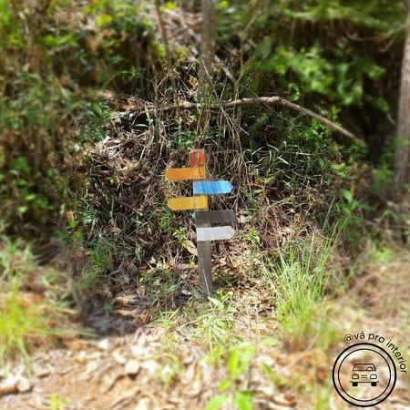 Sinalização das trilhas disponíveis na pousada.
