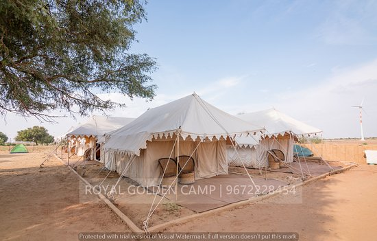 Exterior of swiss tents.