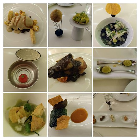 Vegan experimental dining at K23 (top left and bottom right corners were the non-vegan desserts that other members of our group got).