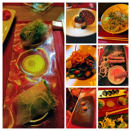 Vegan dishes they had or altered for us to eat at Wok Wok (except for bottom center pic that was a non-vegan dessert).